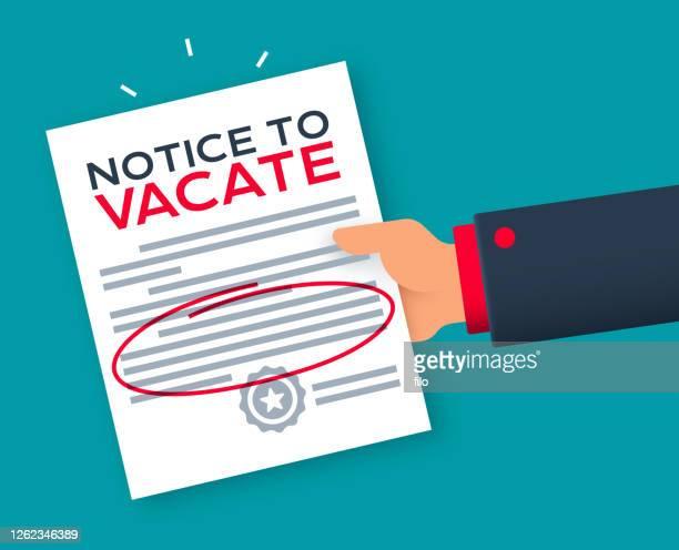 räumungsbenachrichtigung zur räumungswarnung - hinweisschild stock-grafiken, -clipart, -cartoons und -symbole