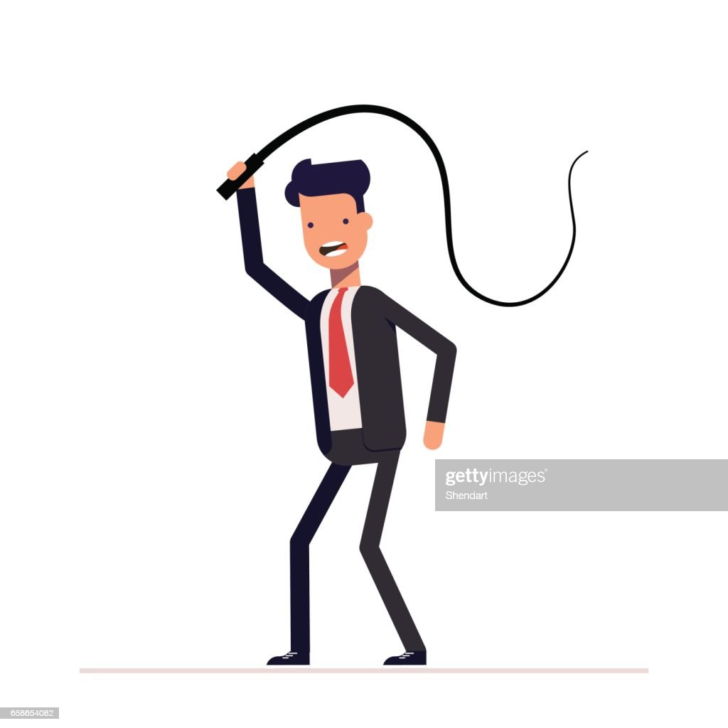 Evil boss or businessman with a whip in his hands. Domination, demonstration of power and power. The slaveholder. Oppression of the weak.