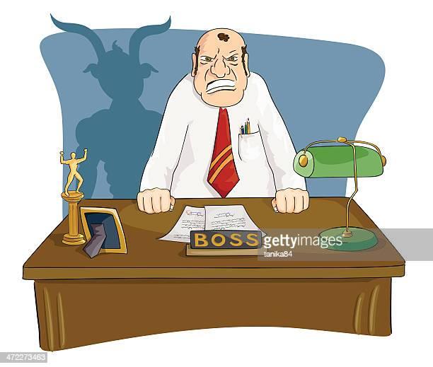 evil boss - foreman stock illustrations, clip art, cartoons, & icons