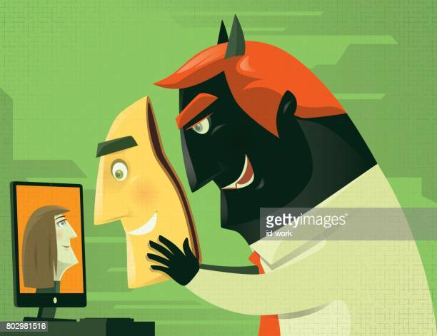 evil businessman video chatting with smiling mask - video conference stock illustrations