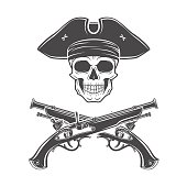 Evil captain skull in hat with musket. Jolly Roger template