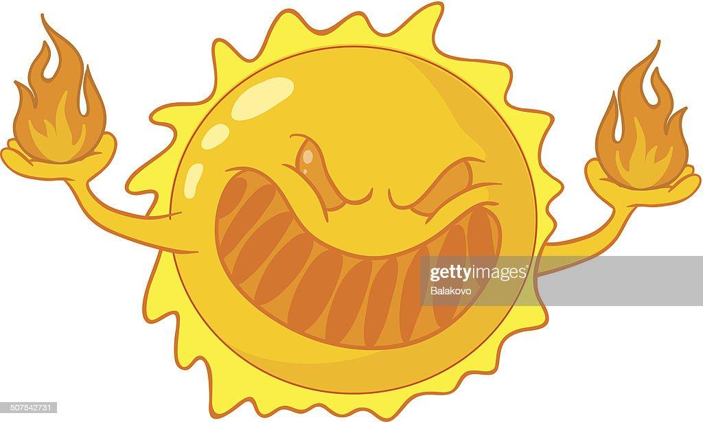 Evil cartoon sun