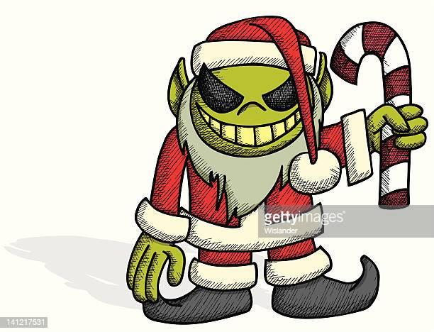 evil christmas elf - evil stock illustrations
