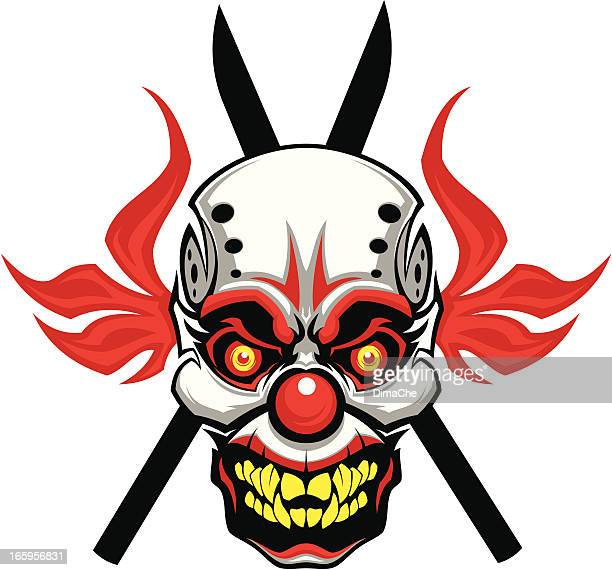 evil clown mask - jester stock illustrations, clip art, cartoons, & icons