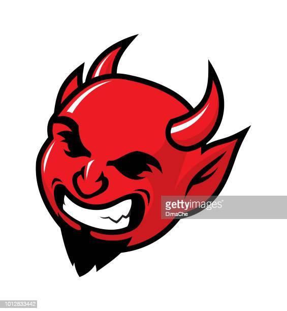 evil laughing devil mascot head vector icon - devil stock illustrations