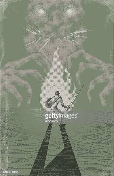 stockillustraties, clipart, cartoons en iconen met evil looms and good approches poster style - monster fictional character
