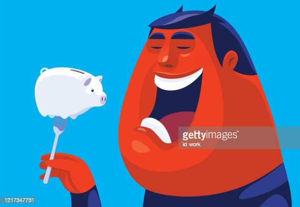 evil man going to eat piggy bank - corruption stock illustrations