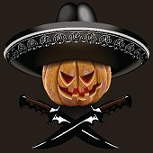 evil pumpkin for Halloween in a sombrero with knives