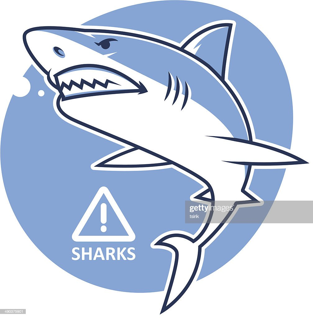 Evil shark warning sign