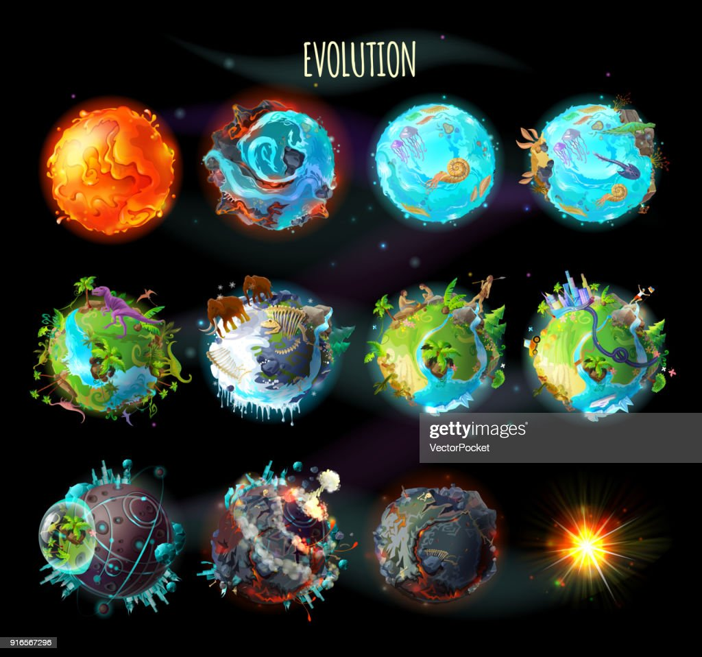 Evolution of Earth, vector concept illustration