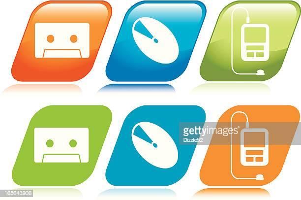 stockillustraties, clipart, cartoons en iconen met evolution of music icons - opslagmedia voor analoge audio
