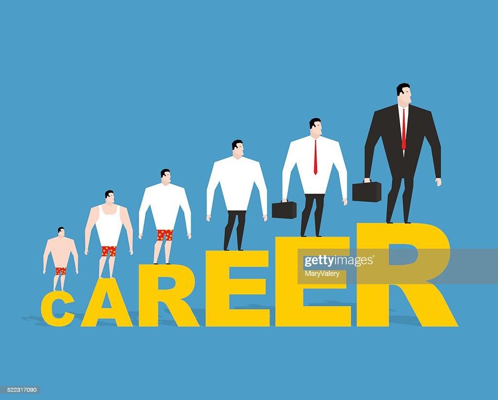 Evolution of office manager in his career. Career ladder. Busine
