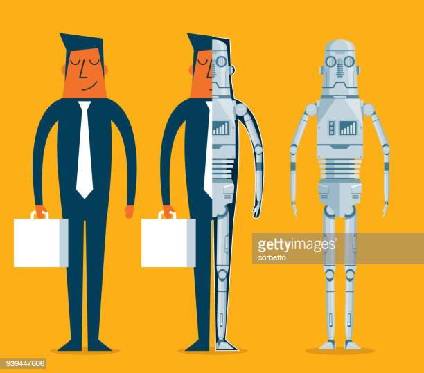 ilustraciones, imágenes clip art, dibujos animados e iconos de stock de evolución de los robots - empresario - robot