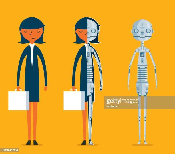 Evolution of robots - Businesswoman