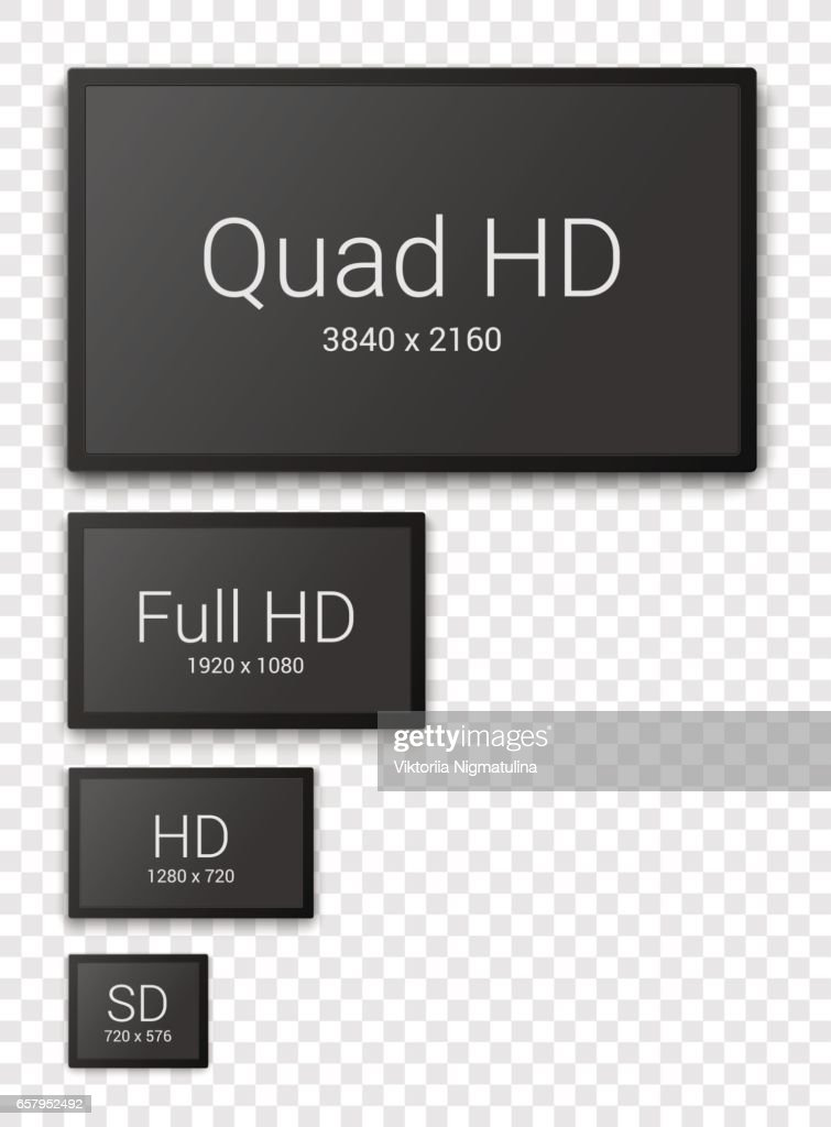 Evolution of television resolution set, Ultra HD, full HD, HD and SD tv displays with empty screens.