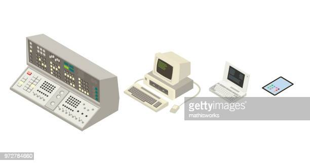 evolution of the computer - history stock illustrations