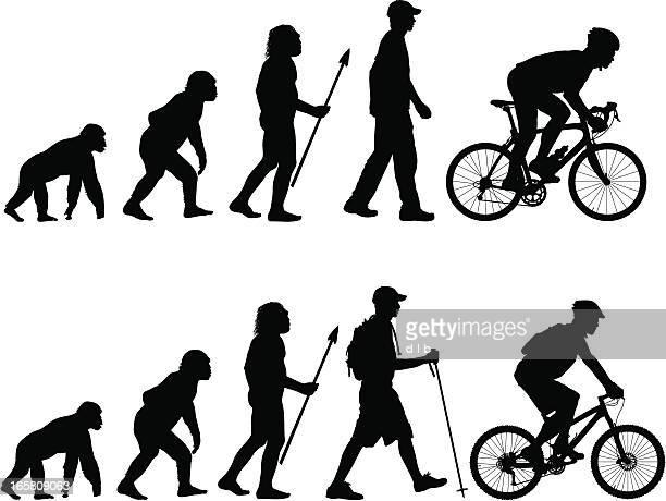 ilustrações de stock, clip art, desenhos animados e ícones de evolução do ciclista - mountain bike
