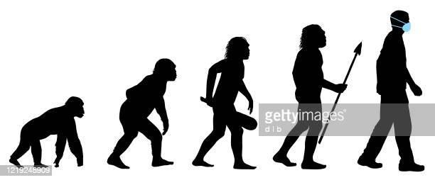 illustrazioni stock, clip art, cartoni animati e icone di tendenza di evolution of the human with medical face mask - progresso