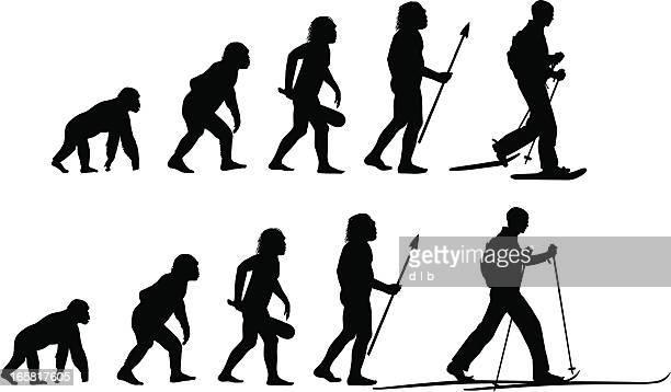 illustrazioni stock, clip art, cartoni animati e icone di tendenza di evoluzione della snowshoer e cross-country sciatore - homo sapiens