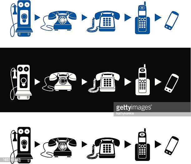 evolution of the telephone - phone cord stock illustrations, clip art, cartoons, & icons