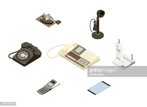 evolution of the telephone - answering machine stock illustrations, clip art, cartoons, & icons
