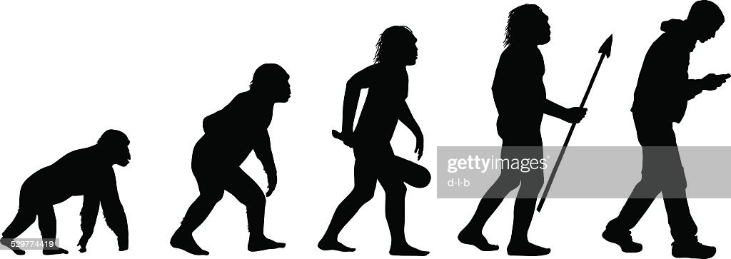 Evolution of the Texting Human : stock illustration
