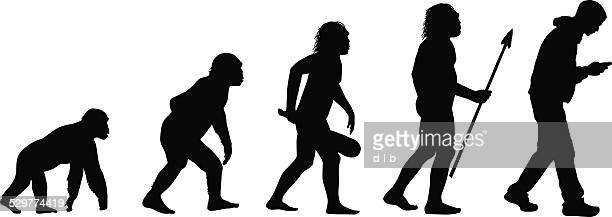 stockillustraties, clipart, cartoons en iconen met evolution of the texting human - ontwikkeling