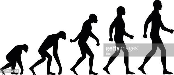 evolution silhouettes - men stock illustrations
