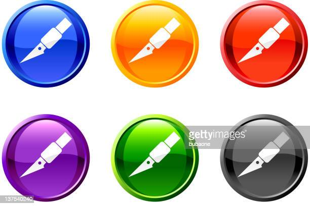 exacto blade knife royalty free vector icon set round buttons - utility knife stock illustrations