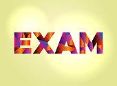 Exam Concept Colorful Word Art Illustration