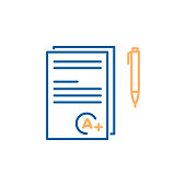 Exam grade success best score A plus. Thin line icon trendy design with test papers, grade and pen