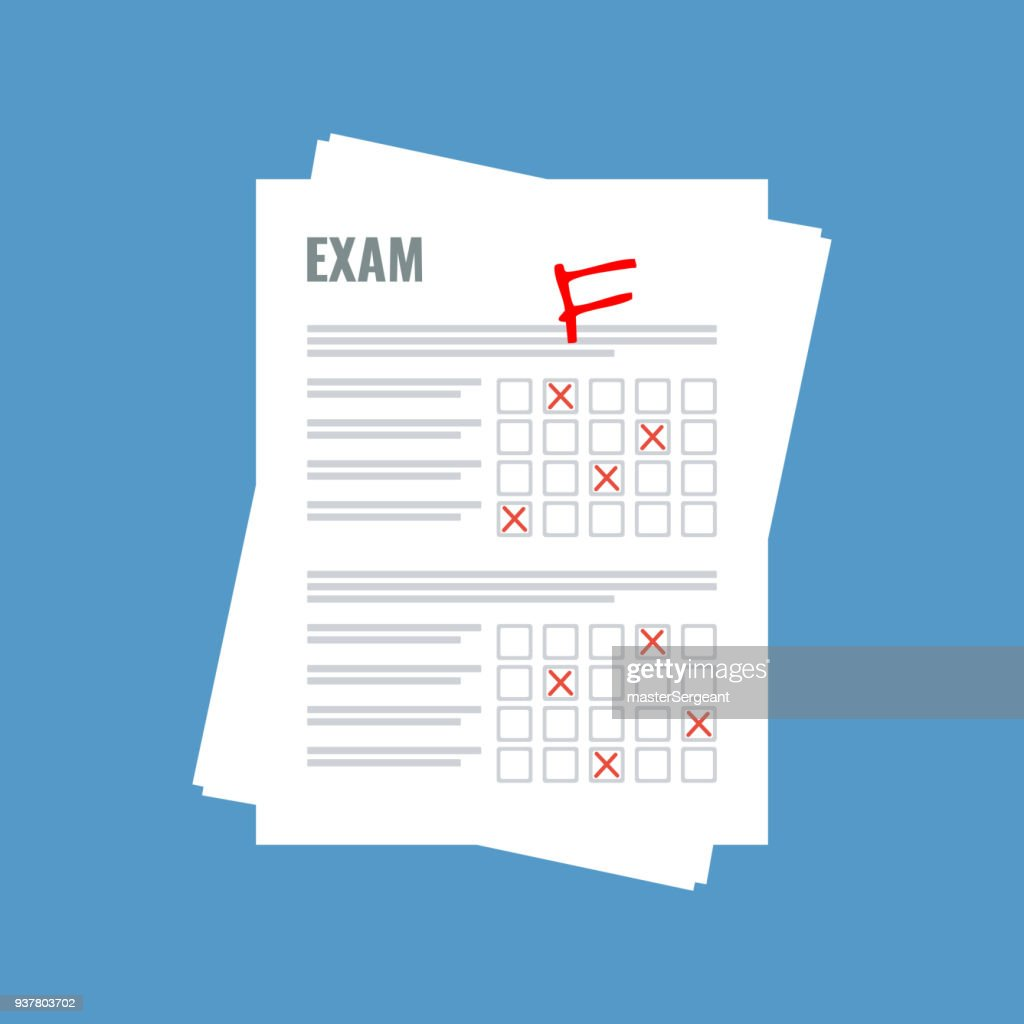exam sheet with F grade, flat design