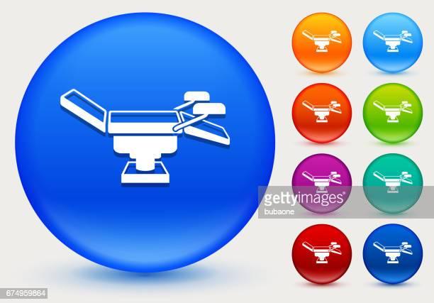 光沢のあるカラー サークル ボタンで試験テーブルのアイコン