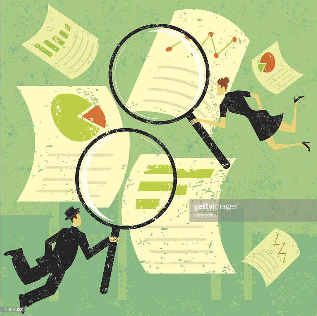 Examining financial documents : stock vector