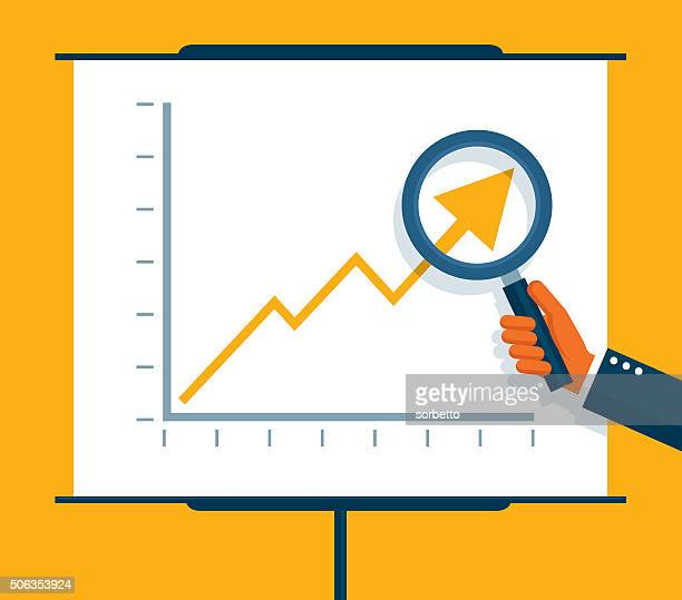 examining profits - graph stock illustrations