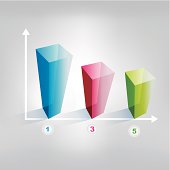 Example of cube chart. Infographics element.