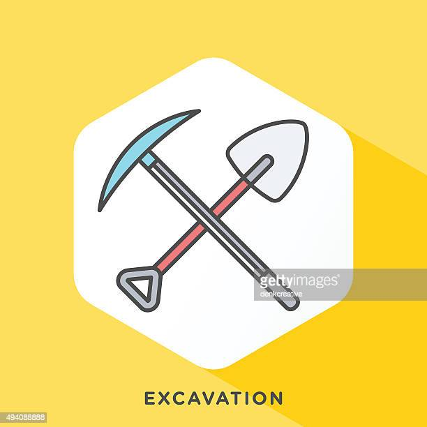 excavation icon - archaeology stock illustrations