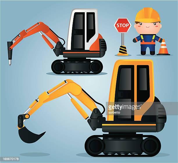 Excavator and construction worker