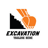 excavator / excavation icon, emblems and insignia with text space for your slogan / tagline. vector illustration