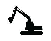 excavator silhouette design illustration, silhouette style design
