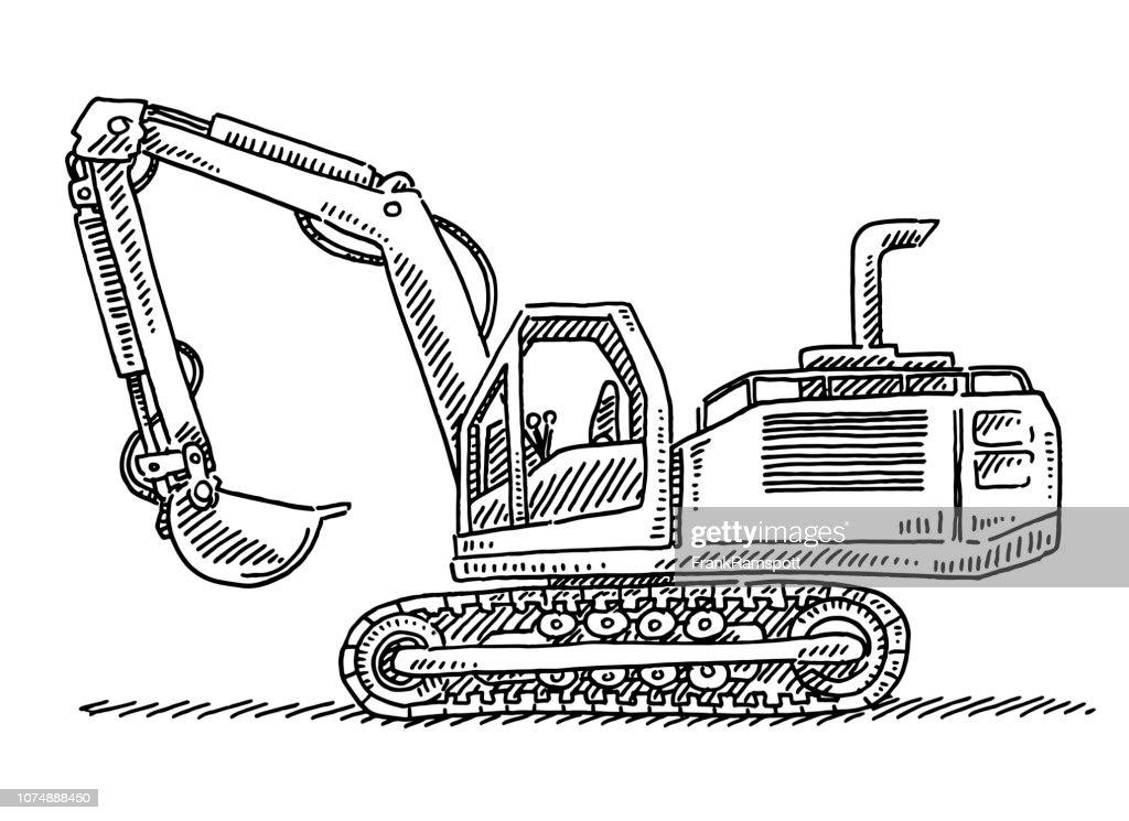 Bagger Fahrzeug Zeichnung : Vektorgrafik