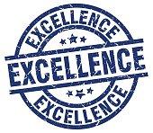excellence blue round grunge stamp