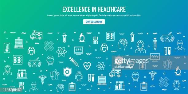 ilustraciones, imágenes clip art, dibujos animados e iconos de stock de excelencia en el diseño de banner web de estilo contorno sanitario - gracias por su atencion