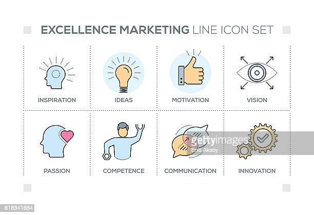 Excellence Marketing keywords with line icons