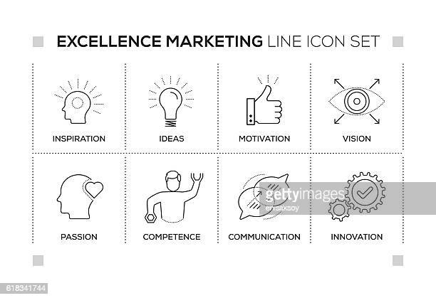 excellence marketing keywords with monochrome line icons - passion stock illustrations