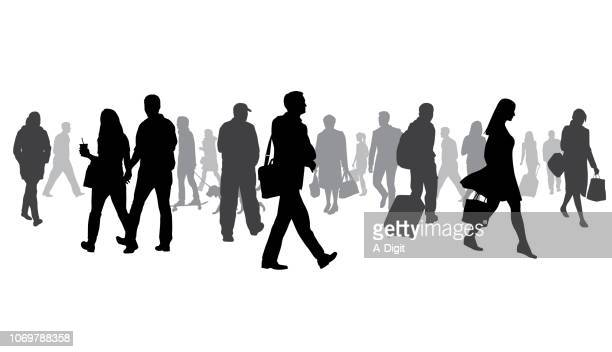 exceptionally large crowd of silhouettes - people stock illustrations