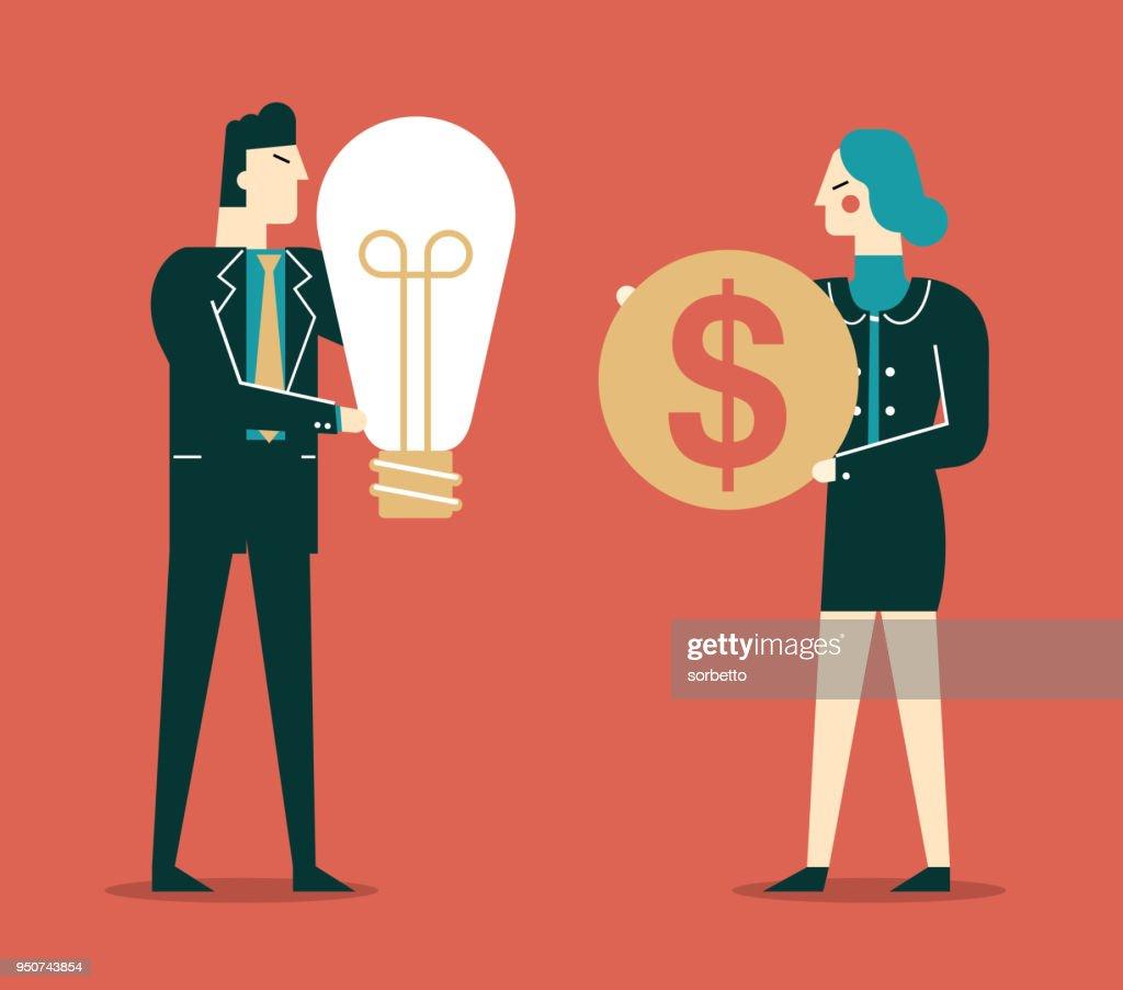Exchange Ideas For Money Businesswoman