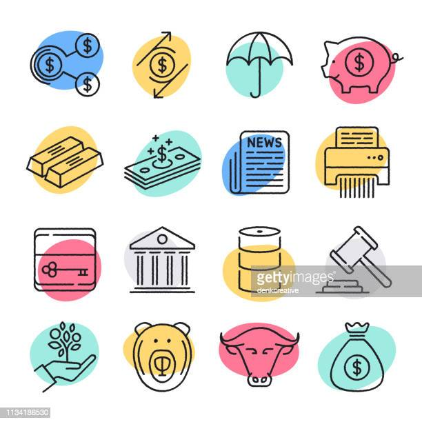 tauschpreisexposure & hedging doodle style vector icon set - hecke stock-grafiken, -clipart, -cartoons und -symbole