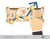 Exchange rate graph with 200 Indian Rupee Banknote and coins. Flat style vector illustration. Business concept.