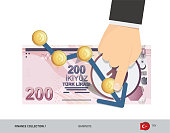 Exchange rate graph with 200 Turkish Lira Banknote and coins. Flat style vector illustration. Business concept.